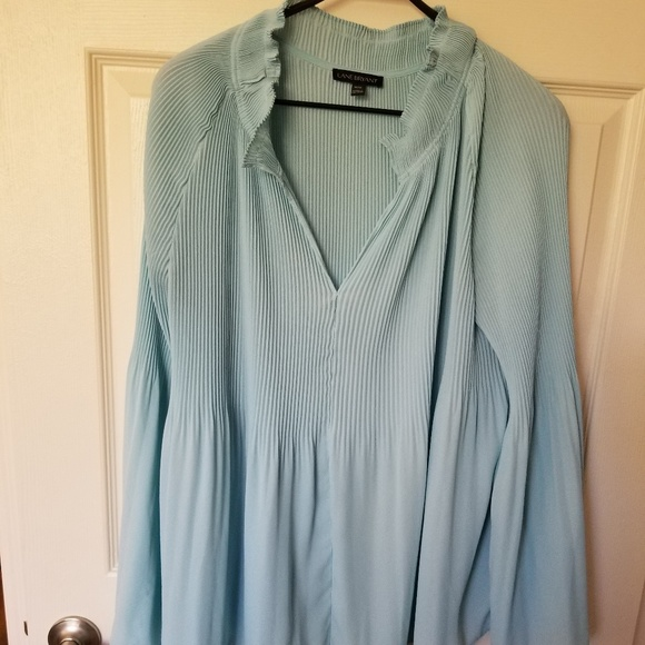 Lane Bryant Tops - Aqua sheer long bell sleeve blouse